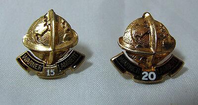 2X Warner Lambert SILVER GILT 15 & 20 Years Long Service Pins Assayed 1979 & '81