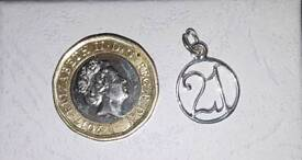 Solid Silver 21st Birthday Charm Pendant for Bracelet or Necklace