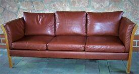 Danish vintage three seater brown leather sofa