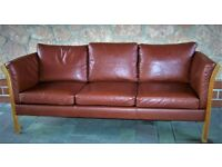 Danish vintage three seater brown leather sofa