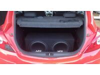 """2 Juice 12"""" 1400w Subs and In Phase 4 Channel Amplifier"""