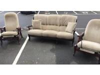 3 Seater Retro Sofa and 2 Recliner Chairs