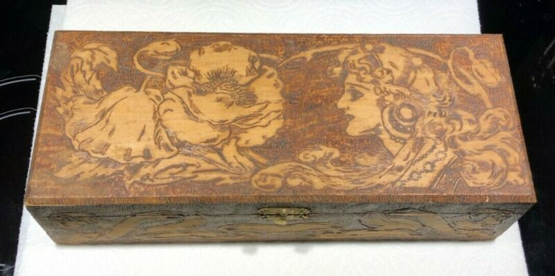 Antique Flemish, 682 ART Pyrography Carved Wood Box, 1900-1940