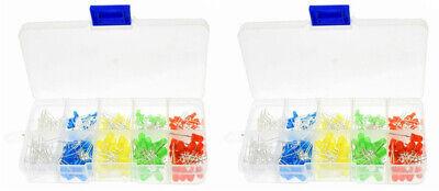 200pcs X2 Led Lights White Yellow Red Blue Green Assortment Kit Box 400pc Total