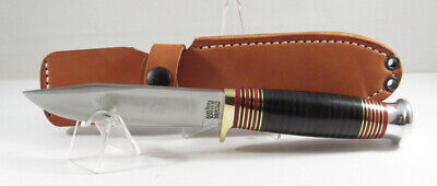 "Bark River Knives Canoe, Cru-Wear, Black Stacked Leather, 9 1/8"", Hike, Camp"