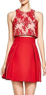 BLACK HALO 'Sanibel' ~ Red Lace Popover A-Line 2PC Party Dress 12 NEW $375 ()