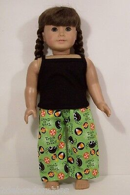 LIME Halloween Pajamas Pants BLACK Top Doll Clothes For 18 American Girl (Debs)