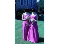 2 x pink, full length beautiful bridesmaid dresses, size 10-12
