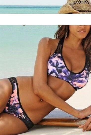 Sunseeker Bustier-Bikini-Oberteil Gr.42 Cup-C/D Schwimmen Damen Schwarz-Lila NEU