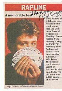 Guinness Book of record holder memorized 52 decks playing cards London Ontario image 1