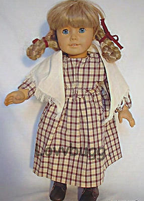 "Lovvbugg Pioneer Plaid Dress w Shawl for 18"" Kirsten American Girl Doll Clothes"