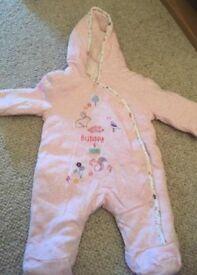 Newborn pink snow suit