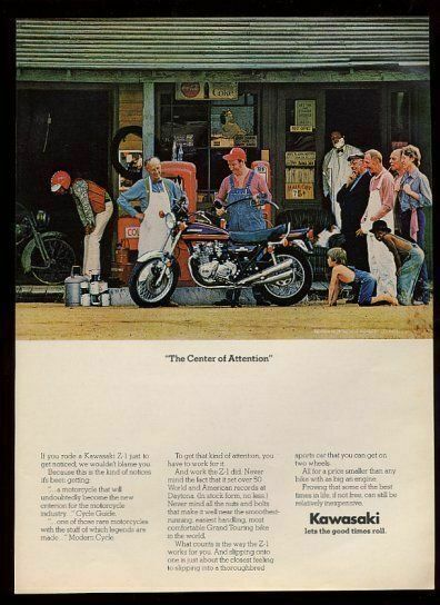 1974 Kawasaki Z1 motorcycle color photo vintage print ad