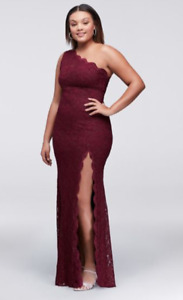 Wine Coloured Plus Size Prom Dress