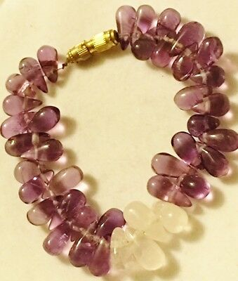 VTG Purple White Amethyst Gemstone Teardrop Bead Charm Bracelet 7