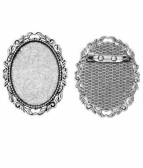 40x30mm Antique Silver Brooch Cabochon Cameo Setting Frame Tray with Pin 744x