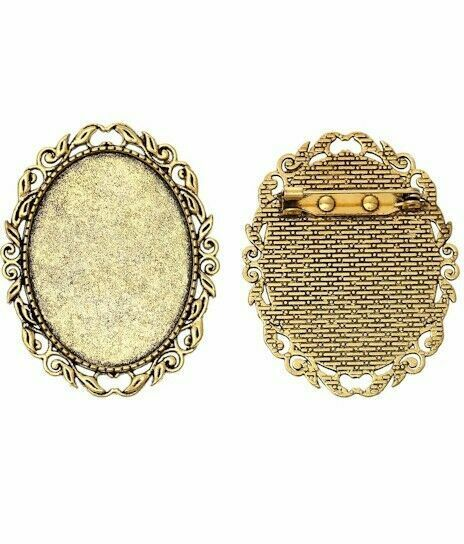 40x30mm Antique Gold Brooch Pin Setting Cameo Cabochon Setting with Pin 760x