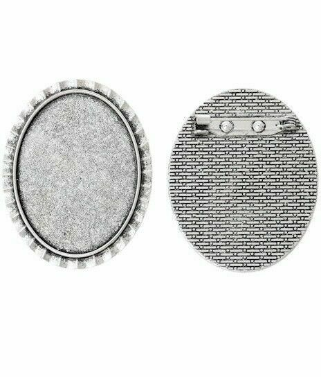 40x30mm Antique Silver Cabochon Cameo Brooch Setting with Pin 761x