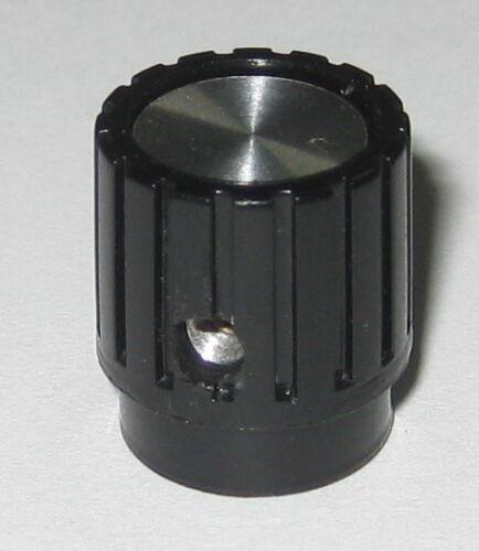 "Instrument Knurled Knob - 1/8"" Inside Dia. - Black Plastic / Brushed Aluminum"