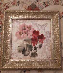 Flower Picture Gold Frame - Home Decor