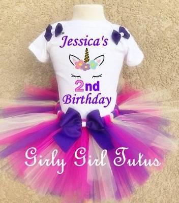 Baby Girl Unicorn Personalized Custom Birthday Tutu Outfit Party Dress Set - Personalized Infant Dresses