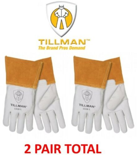 Tillman 1328 TIG Welding Gloves, Pearl Goatskin Leather, 2 PAIR, Sizes M/L/XL