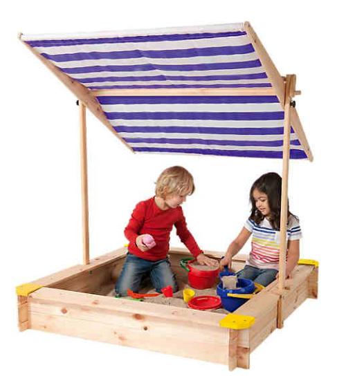 BELUGA  Sandkasten Sandkiste 118 x 118 mit Massivholz mit Kurbeldach R1P1A1
