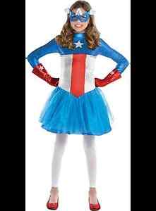 Captain America Girls Costume Size Medium (age 8-10)