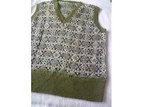 Hand-knitted woollen Fair Isle sleeveless v-neck