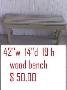 "rustic look bench 42"" L x14"" W x 19"" H / $ 50"