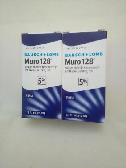 2 Bausch & Lomb Muro 128 ® 5% Solution  Eye Drops 1/2 Oz 15