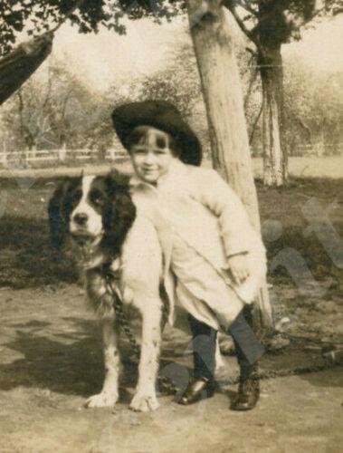 wd3 Victorian Cabinet Card  girl big hat hugging  Black White Farm Dog 790a