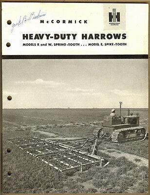 Vintage Ih Mccormick Heavy Duty Harrows Model R W E Advertising Book