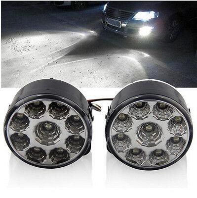2 x Bright White 9 LED Car Fog Driving Daytime Running Light DRL ATV SUV Lamp