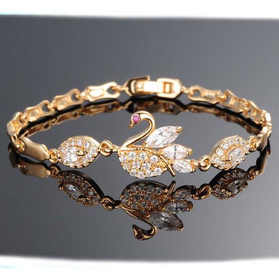 18k Karat Goldkette Armreif Damen vergoldet Geschenk für Frauen Armkette Schwan