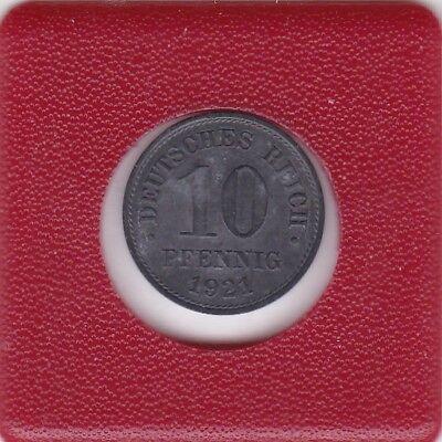 10 Pfennig 1921 3,65 g Zink dicker Schrötling bessere Erhaltung German Empire