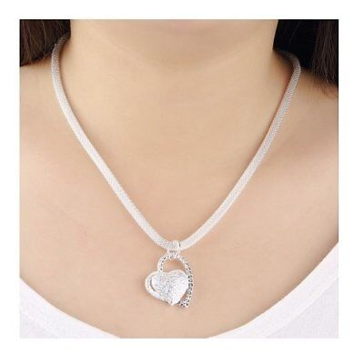 925 Sterling Silver Charm Double Heart Love Pendant Necklace Mesh Chain 18