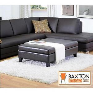 NEW BAXTON STUDIO STORAGE OTTOMAN BLACK FULL LEATHER COCKTAIL FURNITURE OTTOMANS LIVING ROOM DECOR ACCENTS HOME