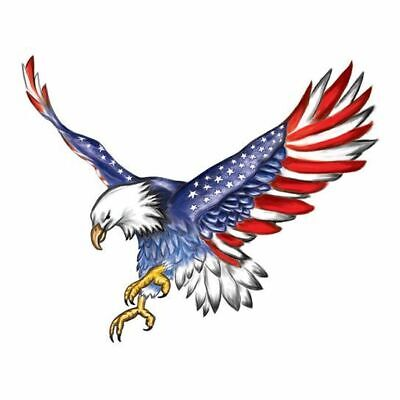 Bald Eagle Flag Temporary Tattoo with American flag wings, 2 pack Temporary Tattoo Pack