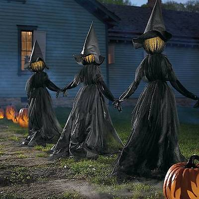 Set of 3 Lighted Glowing Black Witches Witch Coven Outdoor Halloween Prop Decor