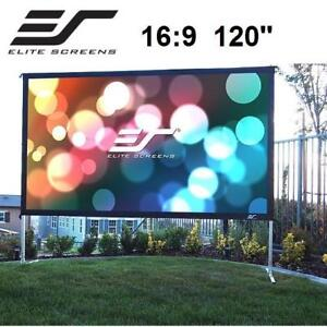 """OB ELITE SCREENS PROJECTION SCREEN OMS120HR2 226364522 YARD MASTER 2 MOVIE PROJECTOR 90"""" 16:9 OUTDOOR THEATRE ENTER O..."""