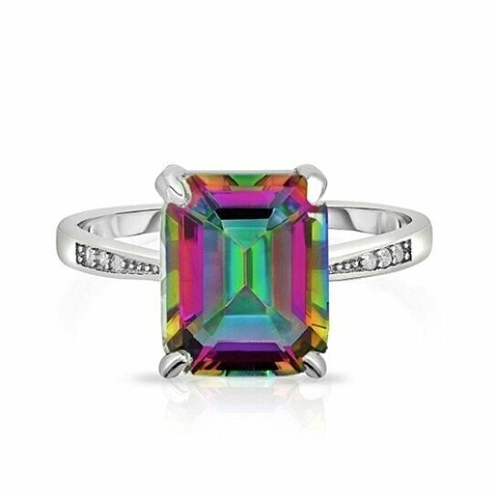 18K White Gold Plated Created Emerald Mystic Topaz CZ Elements Ring Fashion Jewelry