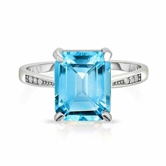 Sterling Silver Blue Topaz Ring 925 Sterling Silver Plated Size 6-7-8-9 Jewelry Fine Jewelry