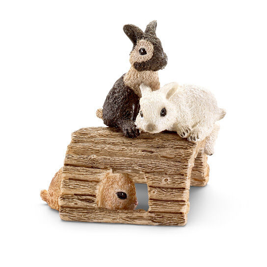 BABY RABBITS PLAYING by Schleich;toy/rabbit/bunny/13748/RETIRED
