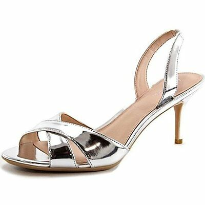 NEW Womens Calvin Klein Lucette Silver Patent Leather Slingback Heels Size -