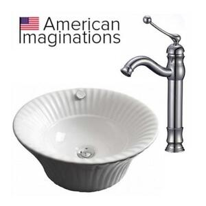 NEW BATHROOM VESSEL SINK/FAUCET SET AI-14989 200392796 AMERICAN IMAGINATIONS WHITE/CHROME 17""