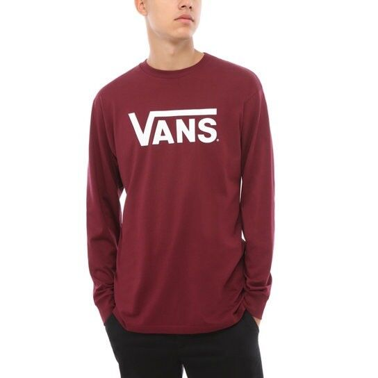 Details about VANS CLASSIC LONG SLEEVE T SHIRT BURGUNDY WHITE