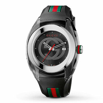 Gucci SYNC Unisex Black Striped Rubber Strap Watch 46mm YA137101 Retail $495.00