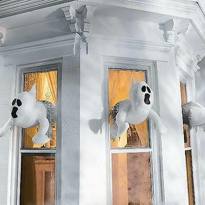 Set of 3 Spooky Window Crashing Ghosts Ghost Outdoor Halloween Decor Prop