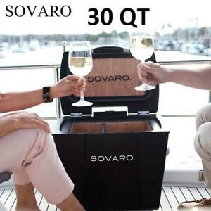 NEW SOVARO 30 QT LUXURY COOLER SVRHSC30B 251852533 HARD SIDED ROLLING HANDLE CORK BOATING CAMPING